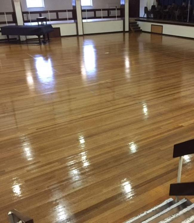 floor polishing in progress